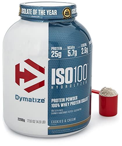 Dymatize Iso 100 Biscotti e Crema 2,2kg - Isolato più Venduto del Mondo, per Prima e Dopo l'Allenamento - 2200 g