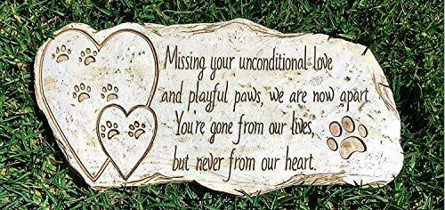 Pawprints Remembered Pet Memorial Stone Marker for Dog or Cat - for Outdoor Garden, Backyard, or Lawn. Pet Grave Headstone Tombstone - Loss of Pet Gift - Made of Weatherproof Resin
