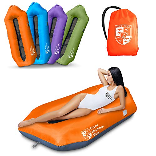OMG Plus Multi-Function Dual Use Inflatable Air Lounger,Air Sofa & Leaking Free Air Couch for Parties Climbing Beach Traveling Camping (Orange)