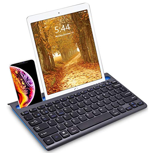 Bluetooth Multi-Device keyboard for Tablet, Phone & Computer, Wireless Rechargeable Compact Travel Keyboard Compatible with Android, iPad Air, iPad Pro, iPhone, Mac, Android & Windows devices