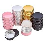 PandaHall Elite 28 latas redondas de aluminio de 4 colores (rosa/negro/plata/amarillo) para envases de maquillaje, almacenamiento de joyas