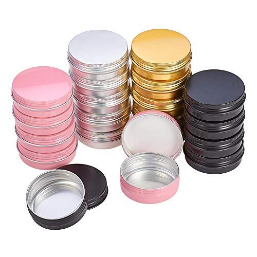 PandaHall Elite - 28 Pcs 4 Couleurs Boites de Rangement Rondes en Aluminium pour Perles Boîte Colonne Pots vides en Aluminium Conteneurs de Perles Bijoux, 60ml