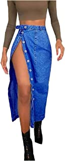 SportsX Women Denim Split Slim Fit Button-Front Trendy Long Casual Weekend Skirt