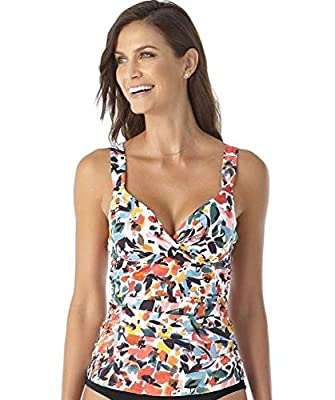 Anne Cole Women's Twist Front Underwire Cup Sized Tankini Swim Top, Sunset Floral, 40D/38DD