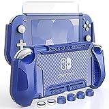 HEYSTOP Carcasa para Nintendo Switch Lite, Funda para Nintendo Switch Lite con Protector de Pantalla para Nintendo Switch Lite Console y Grips con Agarres para el Pulgar - Azul