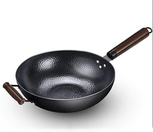 Zhangqiu Pot en fer fait main Zhensanhuan Pot de fer /à la pointe du Wok chinois traditionnel traditionnel Wok Home 直径30cm 蓝黑色