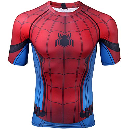 Captain America 3 Civil War Spider-Man Compression Shirt Short Sleeve Men's 3D Print T-Shirt (Small, Red)