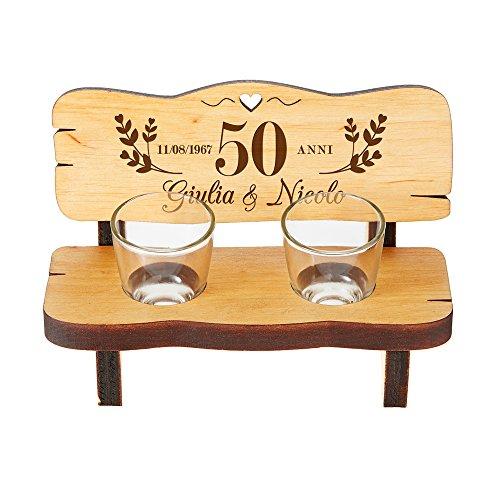 Casa Vivente Panchina per Shot in Legno con 2 Bicchierini da Liquore in Vetro, Incisione Personalizzata Nozze d oro con Nomi e Data, 50 Anni Uniti nell Amore