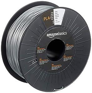 AmazonBasics PLA 3D Printer Filament, 1.75mm, Silver, 1 kg Spool