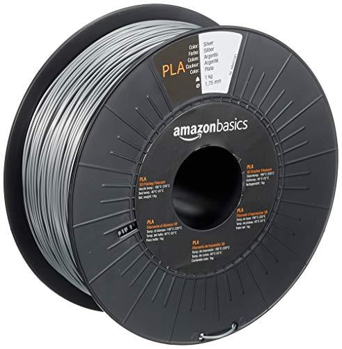 Amazon Basics 3D-Drucker-Filament aus PLA-Kunststoff, 1,75 mm, Silberfarben, 1-kg-Spule