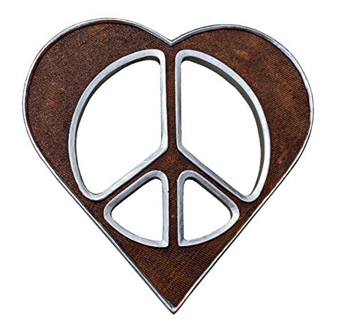 Small Heart/Peace Sign Wall Decor Art Brown Silver - 6 1/2' Rustic Hippie Love Plaque