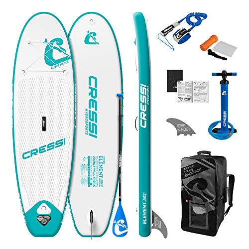 Cressi Element Small Isup Set 8'2'' Sup Hinchable clásico con Shape All Round, Estable y manejable, Unisex-Adult, Blanco/Aguamarina, One Size