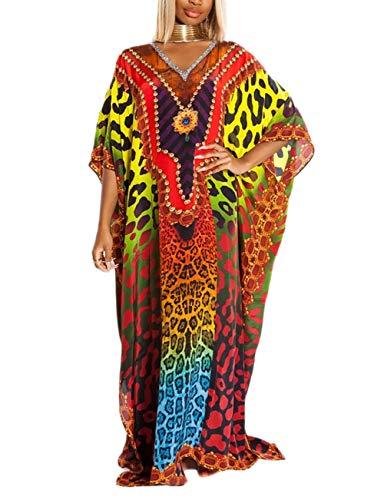 Bsubseach Leopard Print Kaftan Bathing Suit Cover Ups for Women Short Sleeve Plus Size Loungewear Beach Caftan Dresses