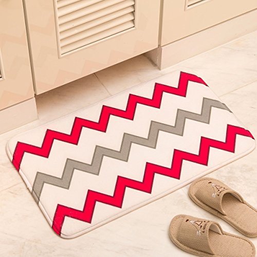 Aboo Bath Rug Kitchen Carpet Runner Mat Floor Mats Soft Doormat (29.5 x 17.7 Inch White with Red Pattern) for Bedroom Living Room