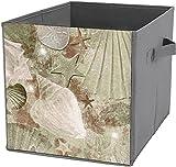 Caja de almacenamiento cuadrada plegable, plegable, cesta organizadora duradera, diseño de conchas, color marrón envejecido