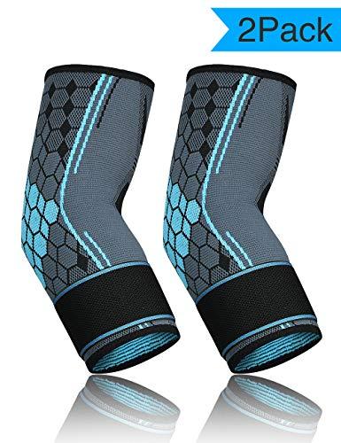 MILANKERR Ellenbogenbandage Tennisarm 1 Paar Bandage mit Klettverschluss Atmungsaktive für Herren Damen beim Sport Fußball Volleyball Fitness Blau M
