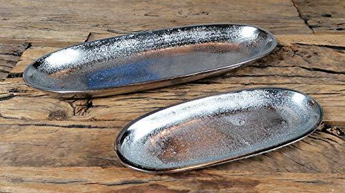 Schale Servierplatte Dekoschale Aluminium Silber Metall, Deko Modern, Wohnzimmer, Küche, Luxus, Tischdeko Hochzeit 2er Set 38 cm