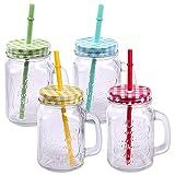 Schramm® Paquete de 4 Vasos con Tapa, asa y Pajita Vasos de Cristal...