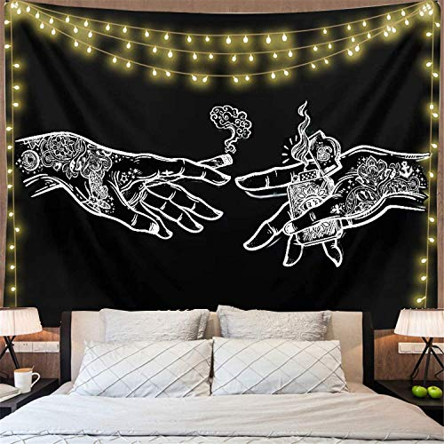 Gothic Tattoos Hands Tapestry Bohemian Goth Psychedelic Tapestry For Living Room Trippy Decor Bedroom College Dorm Room(51' x 59')