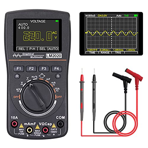 Oscilloscope Multimeter, LM2020 New Update, Professional LED Handheld Oscilloscope Multimeter with 2.5 Msps high Sampling, Automatic Waveform Capture Function,DC/AC Voltage/Current Test