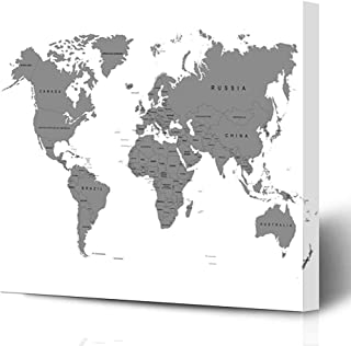 Ahawoso Canvas Prints Wall Art Printing 16x12 Blank Asia Gray Grey Earth World Map Australia On White Global Outline Black Country Flat Globe Painting Artwork Home Living Room Office Bedroom Dorm