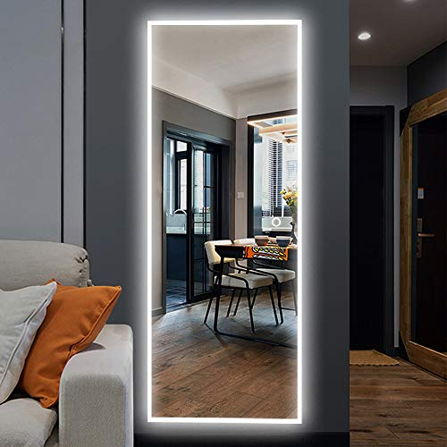 NeuType 65'x22' LED Mirror Full Length Dressing Mirror Large Rectangle Bedroom Bathroom Living Room Mirrors with Touch Button and Plug, Dimmable Lighting, Stepless Dimming, Burst-proof Glass, Anti-fog