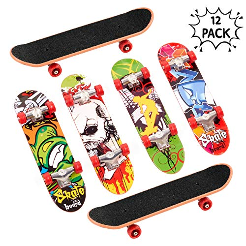 THE TWIDDLERS 12x Fingerskateboard Set & Fingerboard in 12 für Kinder – ideales Innenspielzeug für Kinder – Ideal für Weihnachten Mitgebsel, Kleinspielzeug Mix Beutel Kindergeburtstag, Party Favours