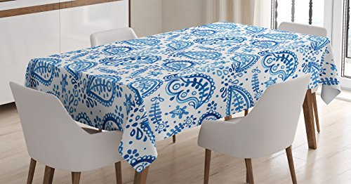 Ambesonne Paisley Tablecloth, Mediterrian Themed Design with Water Color Hand Drawn Flowers and Leaves Print, Rectangular Table Cover for Dining Room Kitchen Decor, 60' X 84', White Blue