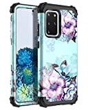 Casetego Compatible with Galaxy S20 Plus Case,Floral Three Layer Heavy Duty Hybrid Sturdy Shockproof Full Body Protective Cover Case for Samsung Galaxy S20 Plus 6.7 inch,Blue Flower