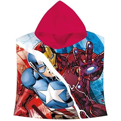 Kids Euroswan Poncho con Diseño Avengers, Algodón, Azul, 0.5x61x59 cm