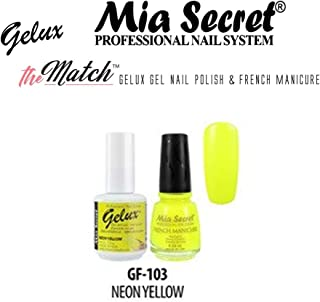 Mia Secret The Match Gelux UV GEL & Manicure Regular Nail polish 3 min Dry - Pick Your Color (NEON YELLOW)