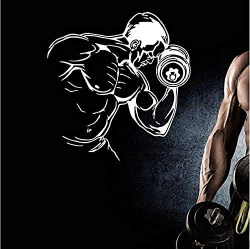 Wandaufkleber Abziehbilder Gym Aufkleber Fitness Hantel Muskel Aufkleber Bodybuilding Poster Wandtattoos Dekor 56X61Cm