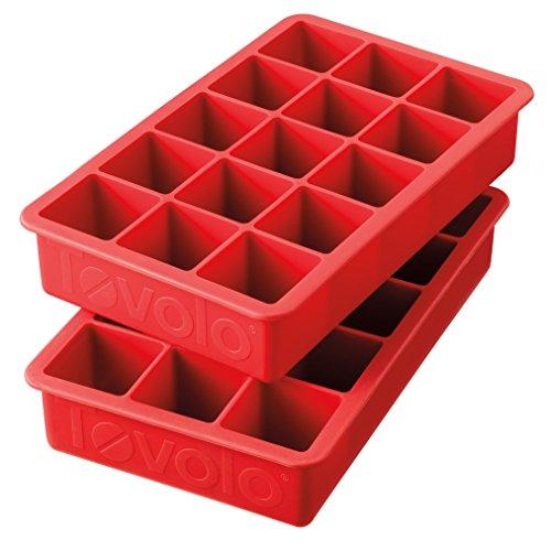 Tovolo Bandejas de molde de gelo Perfect Cube, silicone resistente, resistente ao desbotamento, cubos de 3 cm, conjunto de 2, vermelho maçã