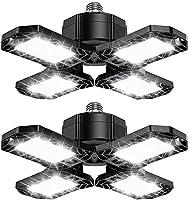 2-Pack LED Garage Lights 120W - 12000LM 6500K Deformable LED Garage Ceiling Lighting Fixture with 4 Adjustable Panels -...