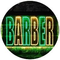 Barber Shop Illuminated Dual Color LED看板 ネオンプレート サイン 標識 緑色 + 黄色 600 x 400mm st6s64-i0152-gy