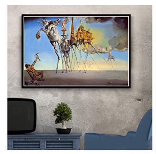 DPFRY Cuadro En Lienzo Salvador Dali Surrealista Resumen Retro Wall Art Poster Réplica Y Grabado Imagen De Pared para Sala De Estar Decoración para El Hogar Kh50Y 40X60Cm Sin Marco