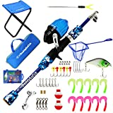 DaddyGoFish Kids Fishing Pole – Telescopic Rod & Reel Combo with Collapsible Chair, Rod Holder, Tackle Box, Bait Net and Carry Bag for Boys and Girls (Blue, 4ft)