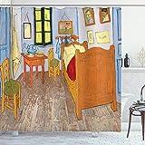 ABAKUHAUS Duschvorhang, Künstler Gemälde Zeichnungen von Vincent Van Gogh Schlafzimmer in der Arles Reproduktion Druck, Blickdicht aus Stoff mit 12 Ringen Waschbar Langhaltig Hochwertig, 175 X 200 cm