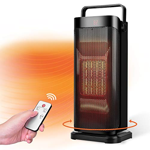 Trustech Space Heater - Fast Heating Ceramic Heater, Quiet Oscillating Heater with Remote, Adjustable Thermostat, 3 Modes, 12H Timer, Overheat & Tip-over Protection, Portable Electric Heater for Home Bedroom Office, Black