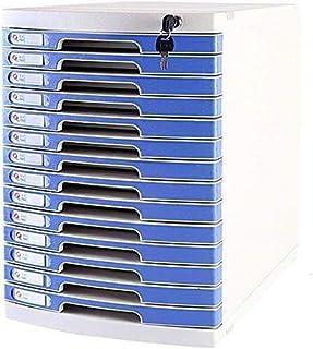 Classeur avec tiroir Dossier FLAT Armoire de rangement Boîte d'information Mobilier Archive Cabinet 14 tiroirs en plastiqu...