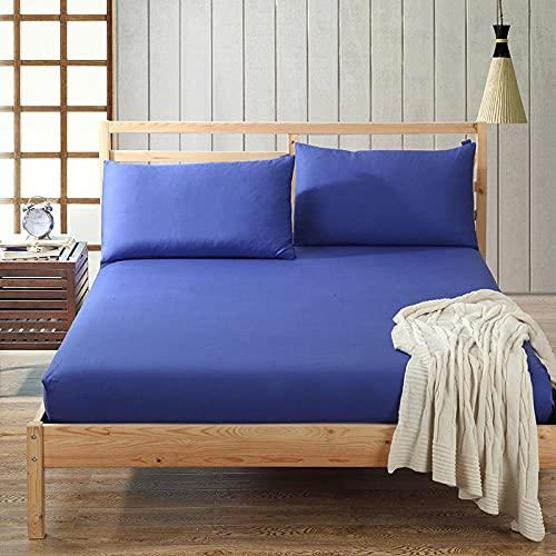 Nuoxuan Sábana Ajustable para Colchones Altos,Hojas de Color sólido de algodón Puro, Cubierta Protectora Antideslizante de Doble tamaño King para Dormitorio de apartamento-Azul 1_180x200cm + 30cm