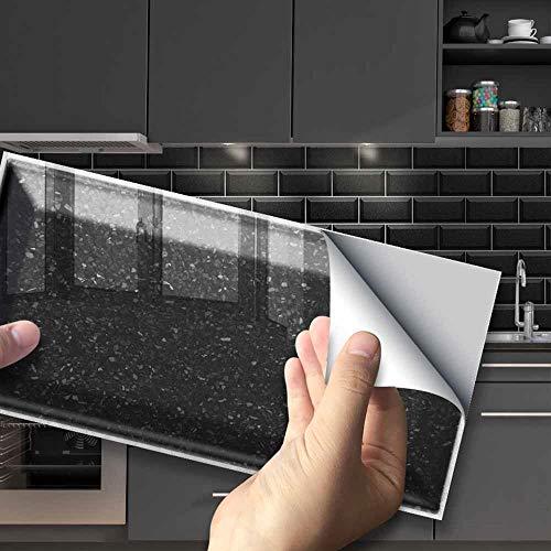 Hiser Adhesivos Decorativos para Azulejos Pegatinas para Baldosas del Baño/Cocina Serie de Piedras Preciosas de Color sólido 3D Resistente al Agua Pegatina de Pared (Terrazo Negro,54 Piezas)
