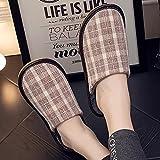 QPPQ Zapatillas de algodón para interiores y exteriores, zapatillas de invierno cálidas, zapatillas antideslizantes de algodón cómodas-Brown_4.5/5, zapatillas de espuma viscoelástica acogedoras