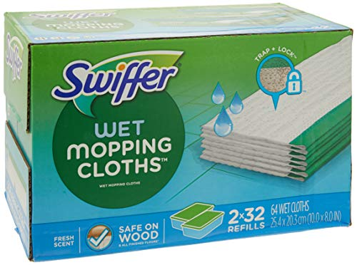 Swiffer Sweeper Wet Mopping Cloths Refills Open Window Fresh 32 Count Pack of 2