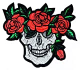 Sugar Skull and Roses Bouquet Crown Biker Tattoo Kids Cartoon Iron on Emoji Embroidered Patch Supplies for Jacket Bags Jeans Backpack Clothes DIY