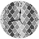 Yaoni Silencioso Wall Clock Decoración de hogar de Reloj de Redondo,Gris y Blanco, Formas geométricas desiguales con líneas en Zigzag y Efecto Ombre, Gris Carb,para Hogar, Sala de Estar, el Aula