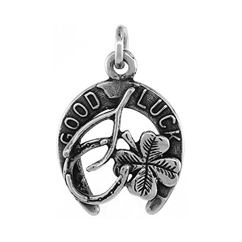 Sterling Silver Irish Lucky Charm Necklace Horseshoe Clover Wishbone Antiqued Finish 3/4 inch, 22 inch Chain BX_15