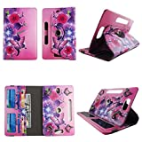Flower Butterfly Pink Tablet case 10 inch for LG G Pad 10.1 10' 10inch Android Tablet Cases 360 Rotating Slim Folio Stand Protector pu Leather Cover Travel e-Reader Cash Slots