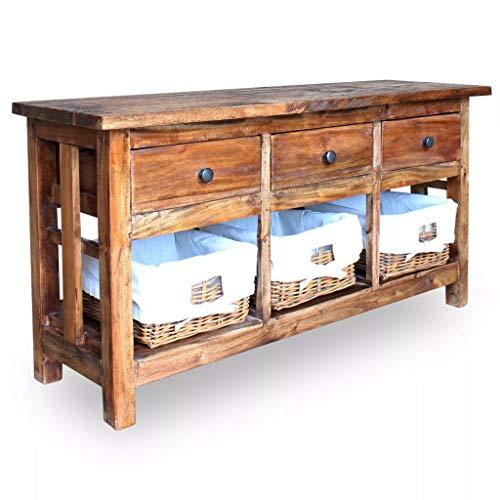 Tidyard TV-Schrank Sideboard Mit 3 Schubladen und 3 herausnehmbaren Körben Badezimmerschrank Kommode rustikalen Vintage-Touch,Abmessungen:100 × 30 × 50 cm (L × B × H),recyceltes Massivholz
