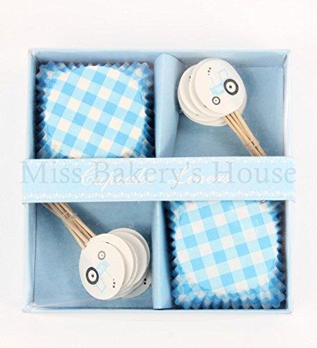 Miss Bakery's House® Papierbackförmchen - Standard mit Topper - Baby Boy - 24+24 Stück - Muffin, Cupcake